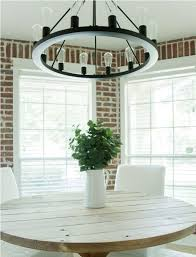 round country dining table brick wall design with antique white round farmhouse kitchen table