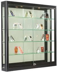3 door display cabinet 3x3 wall mounted display case w slider doors u0026 mirror back