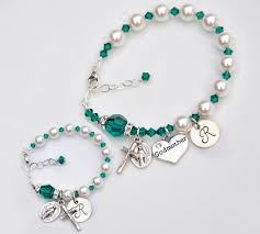 baby rosary bracelet personalized baby bracelet and matching godmother bracelet set