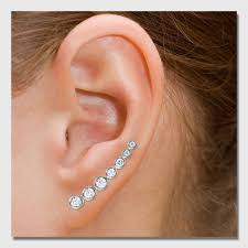 ear climber earring sterling silver cz ear climber earrings sste01065