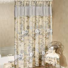 Brown Floral Shower Curtain Ashley Floral Shower Curtain