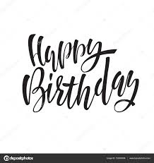 happy birthday lettering for invitation and greeting card prints