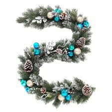 6 ft flocked pine garland with blue plate and silver balls pine