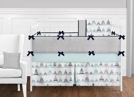 Aqua And Grey Crib Bedding 9 Pc Navy Blue Aqua And Grey Aztec Mountains Baby Boy Or