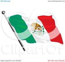 clipart illustration of a mexican flag with the golden eagle