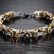 mens bracelet steel images Stainless steel gold plated men 39 s bracelet in pakistan knock n shop jpg