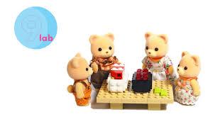 Sylvanian Families Garden Sylvanian Families Calico Critters Cuddle Bear Family With Lego