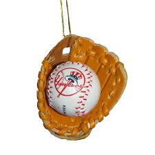 amazon com kurt adler new york yankees baseball in leather glove