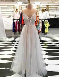 light gray long dress light gray tulle spaghetti straps open back long v neck prom dress