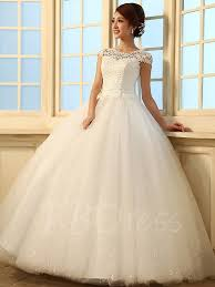 wedding dressed a line princess floor length scoop lace wedding dress tbdress