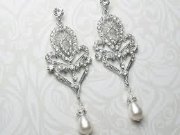 vintage wedding earrings chandeliers deco style chandelier earrings deco pearl drop earrings