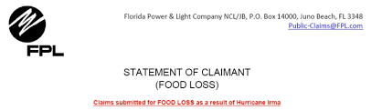 send food no fpl will not reimburse you for food spoiled during power