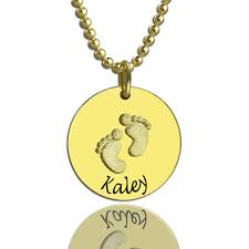 baby name necklace gold personalized baby footprints name necklace 18k gold plated