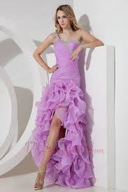 one shoulder high low lilac evening dress cheap