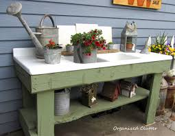 Outdoor Potting Bench With Sink Organized Clutter Galvanized Accents On My Potting Sink 2014
