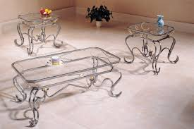 3 piece coffee table set curved silver legs glass top