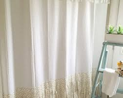 Shabby Chic White Curtains Shower Curtain Etsy