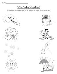 Kindergarten Weather Worksheets What S The Weather Free Printable Matching Worksheet