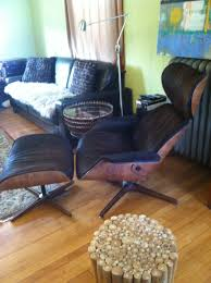 mid century lounge chair ottoman cowhide leather plycraft