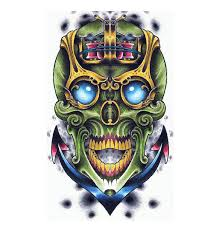 cool sailor u0027s green sugar skull on anchor tattoo design skull