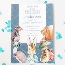 rabbit party supplies rabbit blue personalized baby shower invitation card