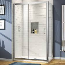 walk in sliding door glass screen tall shower enclosure cubicle