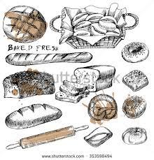 vector hand drawn food sketch bread stock vector 317145983