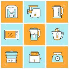 kitchenware flat design inforgraphic color icons set modern
