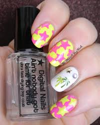 neon pink yellow stars and palm tree nail art be happy and buy