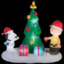 home accents holiday 6 ft lighted inflatable snoopy and charlie