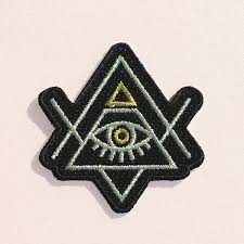 all seeing eye iron on patch patches illuminati black gold