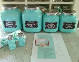 country farmhouse cottage style cracker jar canister set in aqua