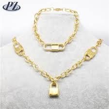 bracelet sets lock shape pendant bracelet sets 18k gold sets jewelry necklace