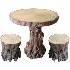 B M Garden Furniture Woodland Tree Table U0026 Stump Stools Set Furniture Unique