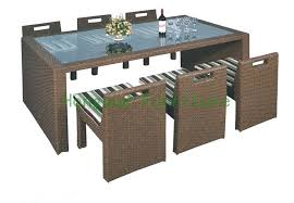 outdoor new pe rattan dining room set with cushion and tempered