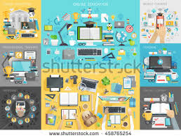 online tutorial library online education set mobile courses tutorial stock vector hd