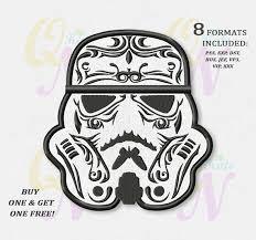 bogo free monochrome sugar skull stormtrooper applique embroidery