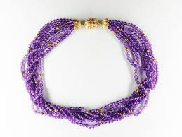 amethyst necklace beads images Vintage 14k gold multi strand amethyst bead necklace chelsea jpg