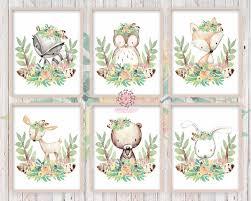 boho woodland deer fox bunny rabbit wall art print nursery feather