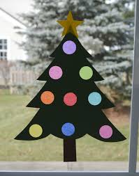 Christmas Crepe Paper Decorations by Christmas Tree Window Decoration