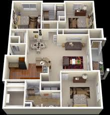 3d Floor Designs by Winsome Three Bedroom House Design 15 25 More 3 3d Floor Plans