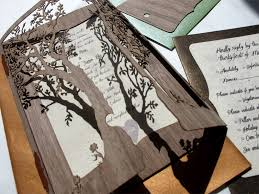 wooden wedding invitations detail of tree laser cut walnut wood wedding invitations
