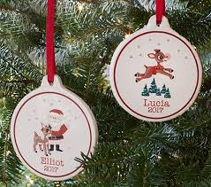 rudolph the nosed reindeer personalized ornaments pottery