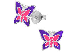 sterling silver pink purple butterfly stud earrings and piper