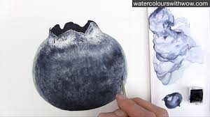 how to paint a realistic blueberry with just one colour in