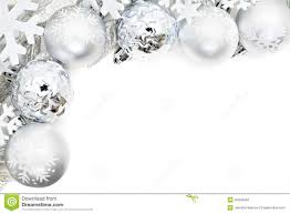 border of snowflakes and silver baubles stock photo
