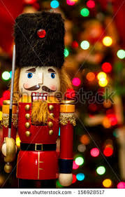 Nutcracker Christmas Lights Decorations by Soldier Nutcracker Statue Standing Front Decorated Stock Photo