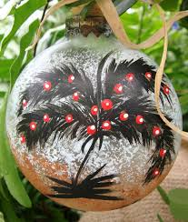 glass ornament with palm tree