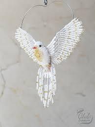 white dove suncatcher beaded dove ornament dove by alulacreations