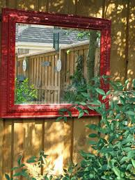 outdoor living garden fence decor with small wall mirror feat